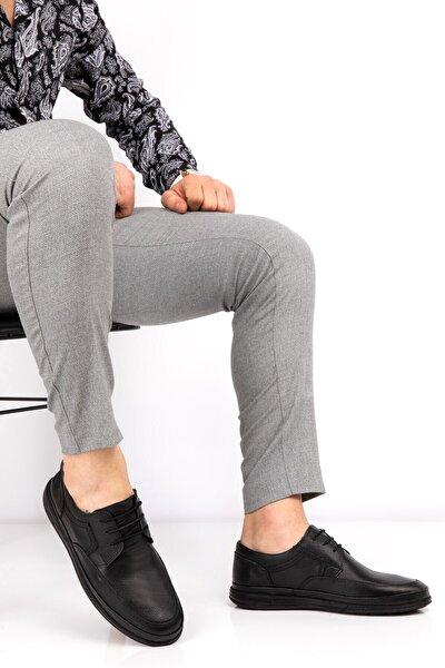 Erkek Siyah Hakiki Deri Yumuşak Klasik Ayakkabı