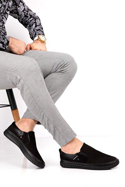 Erkek Siyah Hakiki Nubuk Deri Ortopedik Ayakkabı