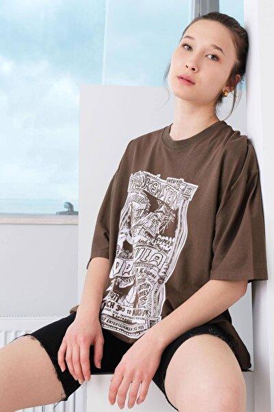Baskılı Oversize T-shirt P9577 - B7