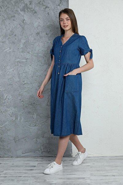 Kadın Düğmeli Kot Elbise