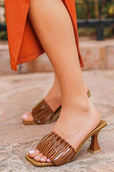Kadın Taba Cilt Topuklu Terlik Kz1235