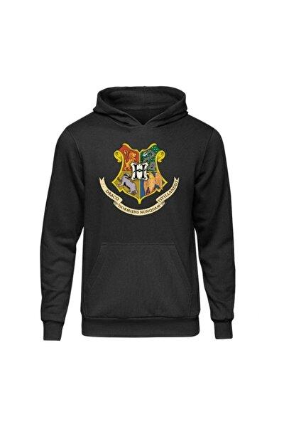Harry Potter Hogwarts Siyah Kapşonlu Hoodie