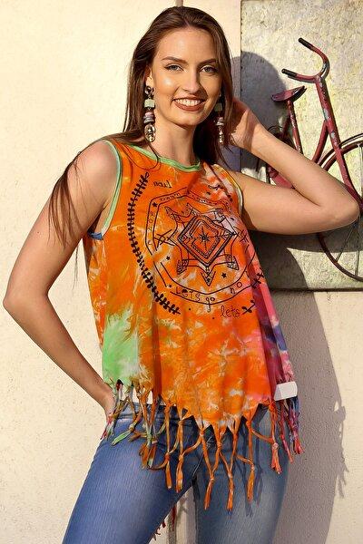 Kadın Turuncu Batik Bohem Baskılı Etek Ucu Saçaklı Yıkamalı Kolsuz T-Shirt M10010300TS98228
