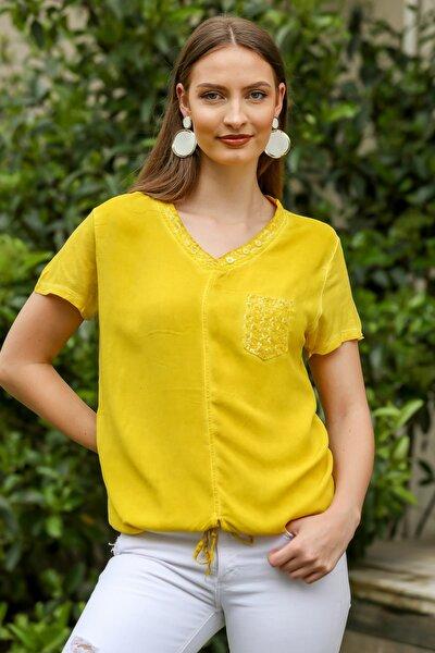 Kadın Sarı Pullu V Yaka Cepli Etek Ucu İp Bağlama Detaylı Yıkamalı Dokuma Bluz M10010200BL95344