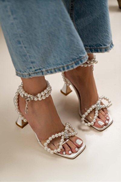 Kadın Bej İnci Detay Topuklu Sandalet