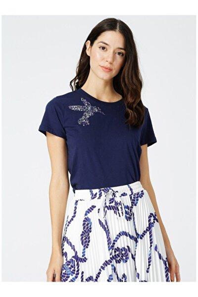 Kadın Lacivert İşlemeli Tişört