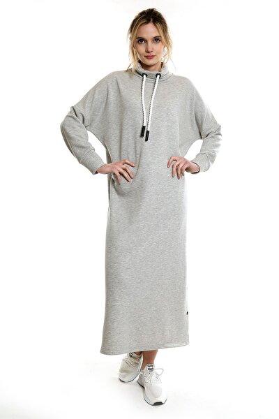 Kadın Gri İki Iplik Sweat Uzun Yırtmaçli Elbise