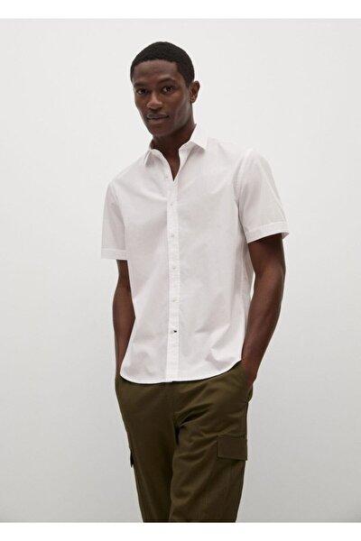 Erkek Beyaz Regular Kesim Kısa Kollu Pamuklu Gömlek