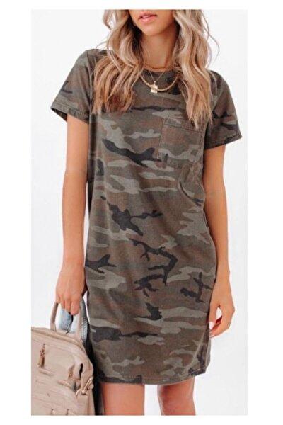 Yeni Model Kadın Kamuflaj Desen Tek Cep Basic Elbise