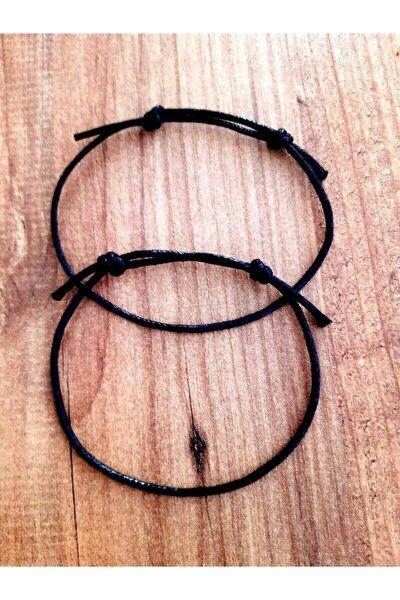 Siyah Kalın Ip Bileklik 2 Adet Düğümlü Ayarlamalı Bijuteri Bileklik