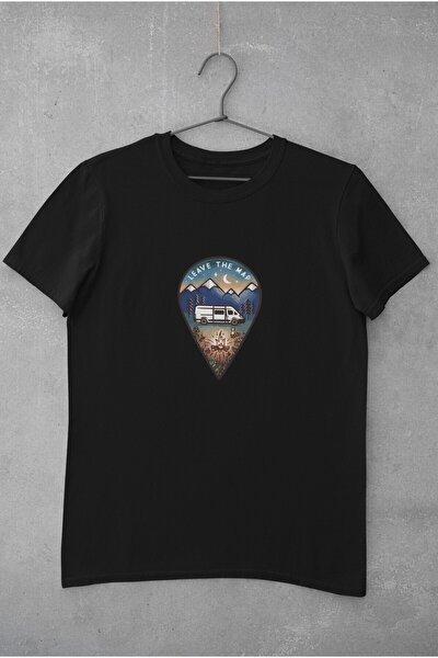 Kamp Karavan Yer Işareti Baskılı Tişört Kadın %100 Pamuk