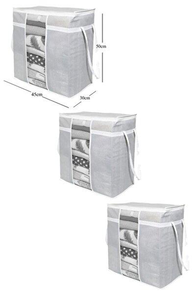 3 Adet - Pencereli Saklama Çantası Çizgili 50x45x30cm