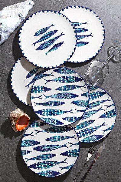 Özel Tasarım Handmade 27cm Büyük Servis Tabak Seti - Blue Fısh 6'lı