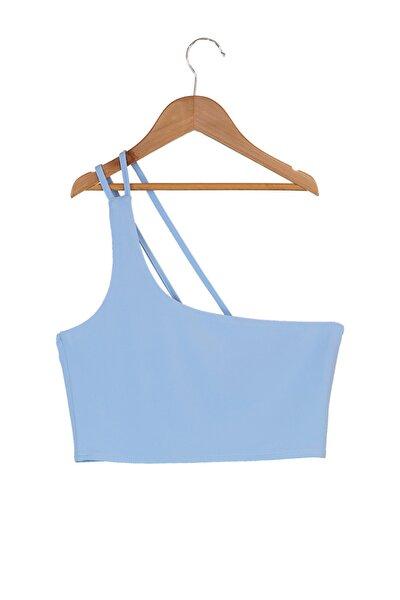 Mavi Tek Omuzlu Crop Örme Bluz TWOSS21BZ0591