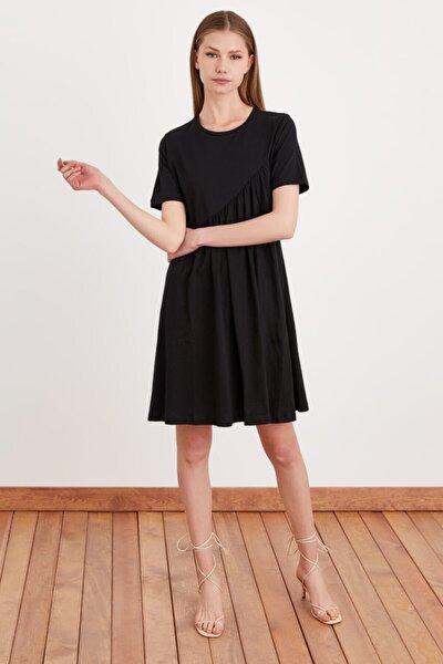 Kadın Siyah Kısa Kollu Örme Elbise