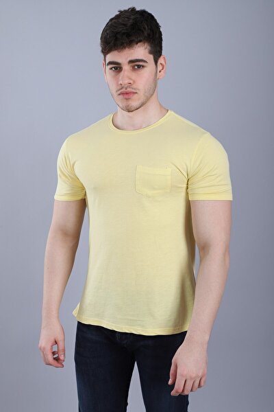 Erkek Bisiklet Yaka Cepli Kısa Kollu Slim Fit Sarı T-shirt