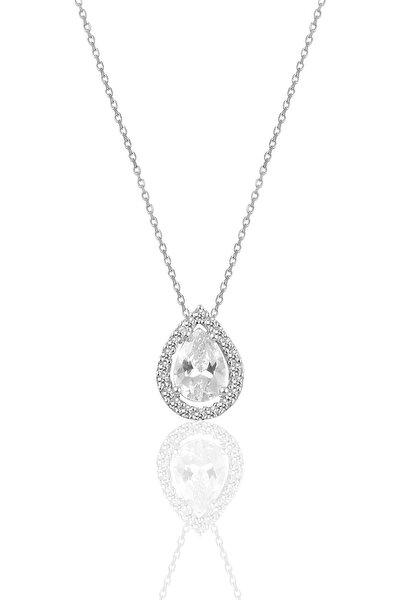 Gümüş Rodyumlu Zirkon Taşlı Damla Modeli Kolye