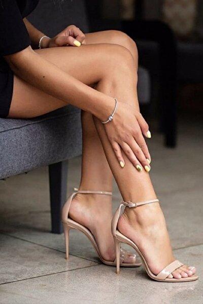 Bej Rugan Tek Bantlı Topuklu Ayakkabı Dora