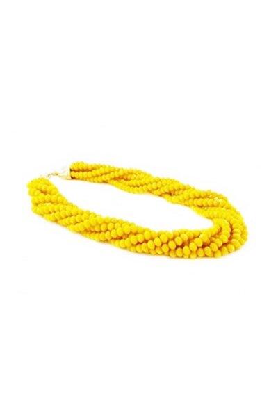 Sarı Renk Karistal Taş Kolye