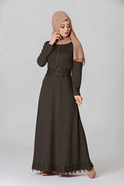 Kadın Haki Etek Ucu Dantel Detay Tesettür Elbise