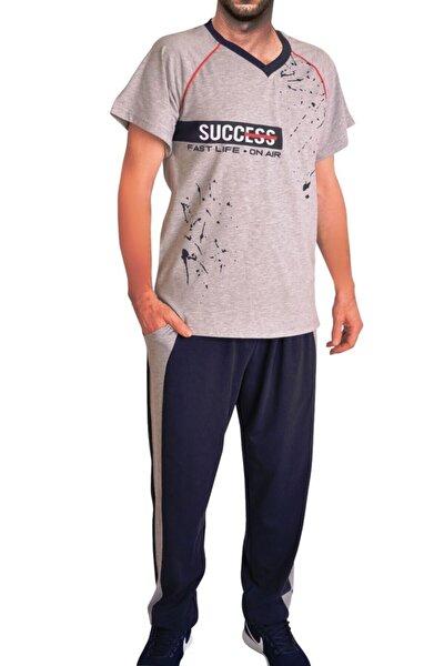 Gri Erkek Pijama Takımı Kısa Kollu Cepli Pamuk