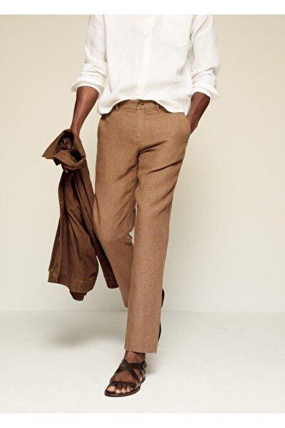 Erkek Kahverengi Dar Kesimli Keten Pantolon