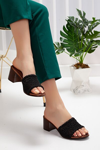 Kadın Siyah Dantel Topuklu Terlik Rt-6083