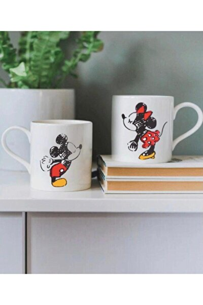 Mickey Mouse Sevgili Baskılı 2'li Kupa Bardak