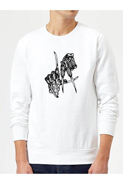 Freddy Krueger La Los Angeles Hand Baskılı Beyaz Erkek Örme Sweatshirt Uzun Kol
