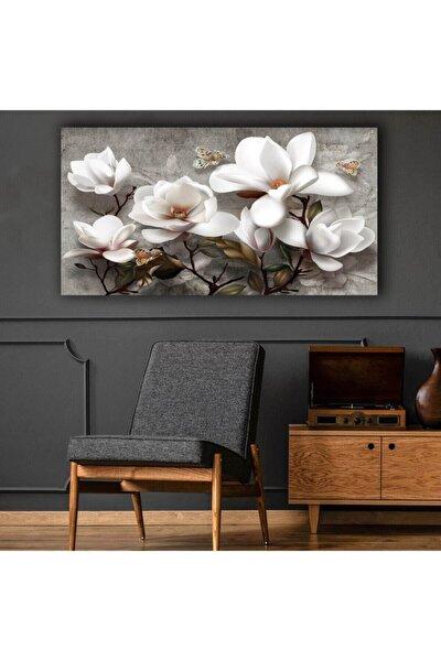 Beyaz Çiçekler Modern Kanvas Tablo 120x70