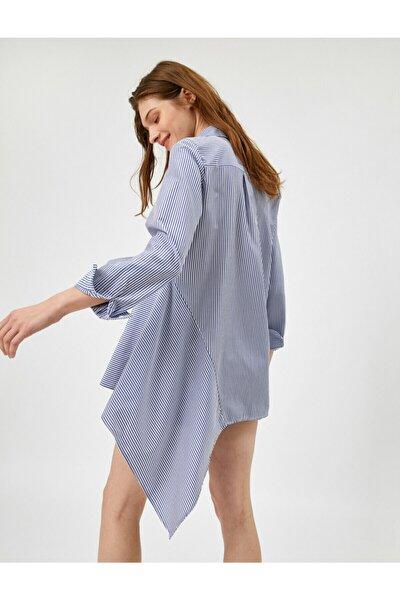 Kadın Mavi Asimetrik Gömlek Yaka Çizgili Bluz