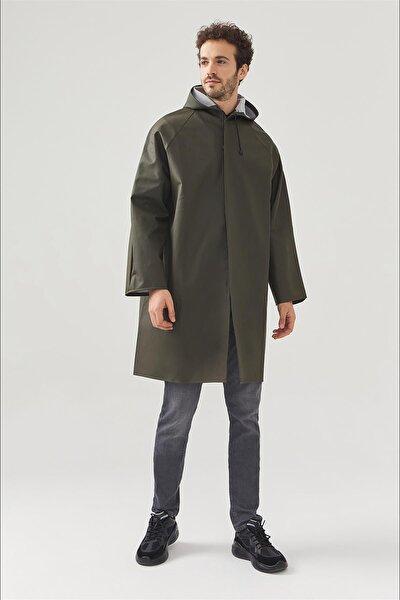 Erkek Haki Kapüşonlu Yaka Yağmurluk A02y6200