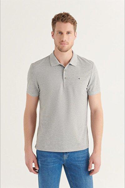 Erkek Gri Polo Yaka Düz T-shirt E001004