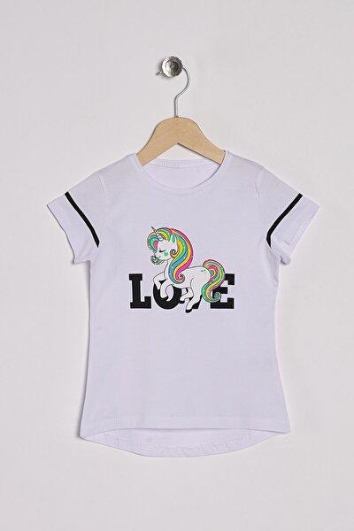 Kız Çocuk T-shirt Unicorn Baskılı T-Shirt 3-7 Yaş