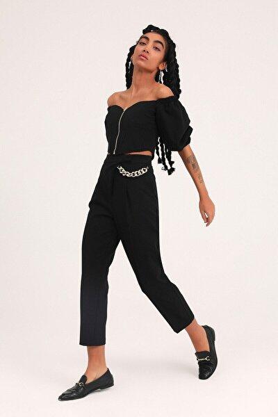 Kadın  Siyah Zincir Aksesuarlı Yüksel Bel Pantolon