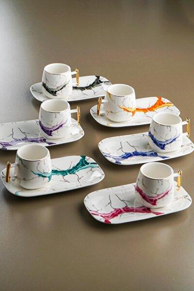 Porselen Kahve Fincan Takımı  6'lı