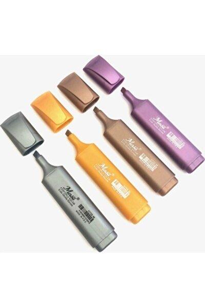 4'lü Metalik Fosforlu Kalem - Şeffaf Çantalı Set