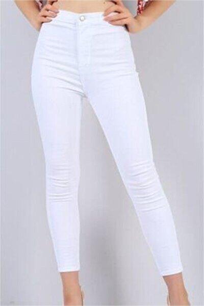 Tayt Modeli Beyaz Yüksek Bel Likrali Pantolon