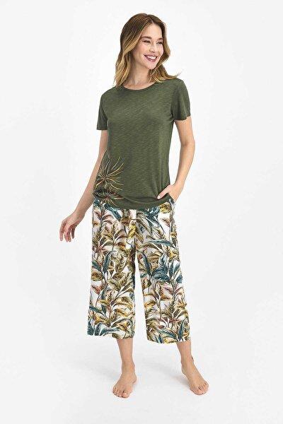 Floral Pattern Haki Kadın Kapri Takım
