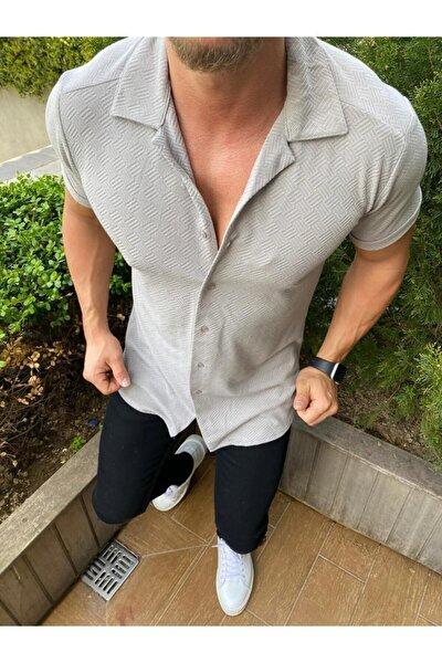 Erkek Gri Desenli Pamuklu Yazlık Kısa Kollu Gömlek