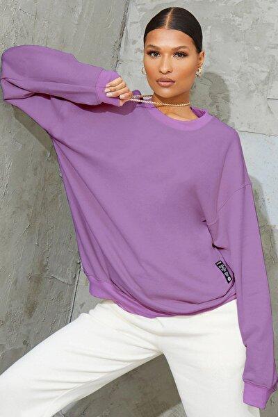Kadın Mor Basic 0 Sıfır Yaka Baskısız Düz Oversize Salaş Bol Kesim Polar Sweatshirt