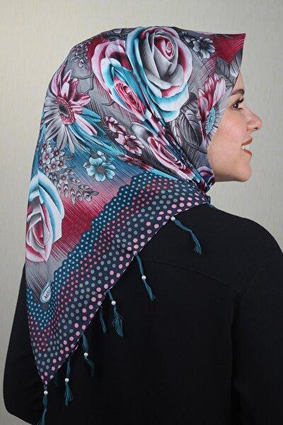 Kadın Mavi Desenli Dadı Boncuklu Tülbent Desen 02 Renk 12