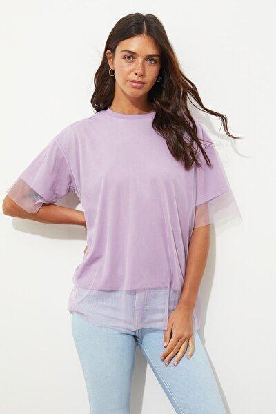 Lila Tül Detaylı Basic Örme T-Shirt TWOSS20TS0046