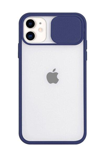 """Iphone 11 6.1"""" Uyumlu Lacivert Kamera Lens Korumalı Sürgülü Kılıf"""