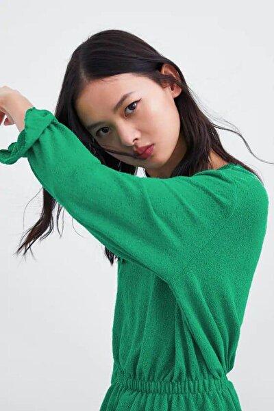 Kadın Yeşil Uzun Kollu Beli Lastikli Yuvarlak Yaka Bluz