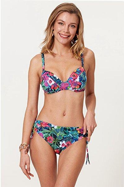 Kadın Mavi Kaplı Çiçek Desenli Bikini Takımı
