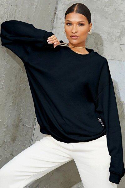Kadın Lacivert Basic 0 Sıfır Yaka Baskısız Düz Oversize Salaş Bol Kesim Polar Sweatshirt