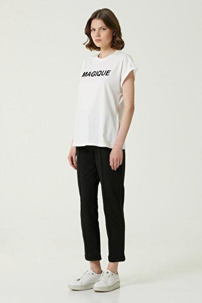 Kadın Basic Fit Beyaz Baskılı T-shirt 1079931