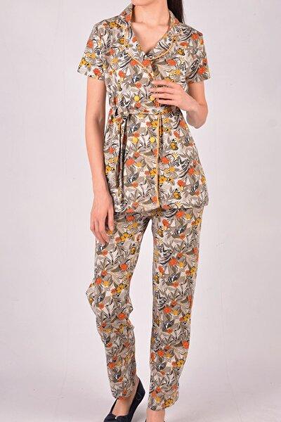 Kiremit Kadın Pijama Takımı Uzun Kollu Pamuk