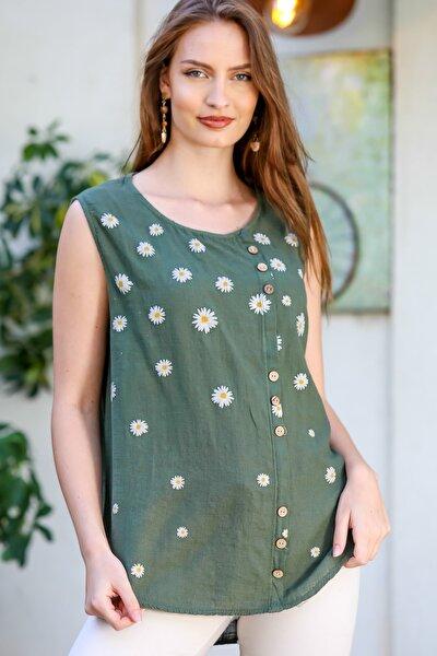 Kadın Haki Sıfır Yaka Papatya Baskılı Düğme Detaylı Kolsuz Dokuma Bluz M10010200BL95325